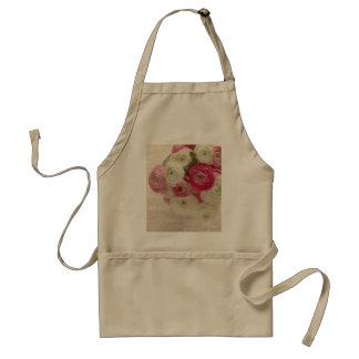 pink and white ranunculus on script apron