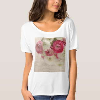 Pink and white ranunculus on script large tshirts