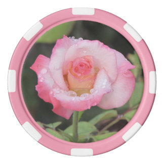Pink and White Rose After the Rain Poker Chips