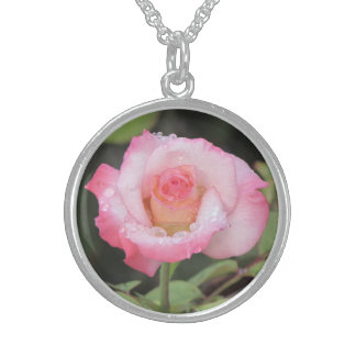 Pink and White Rose After the Rain Sterling Silver Necklace
