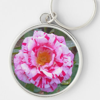 Pink and White Rose keychain