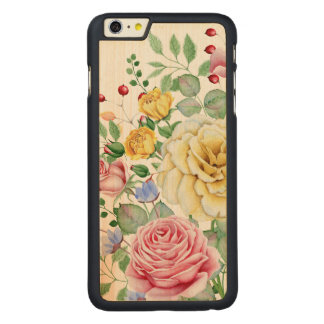 Pink And White Roses Bouquet Design Carved Maple iPhone 6 Plus Case