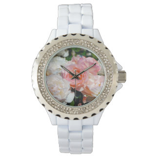 Pink and white roses floral print watch