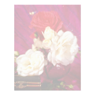 Pink and white roses  flowers letterhead template