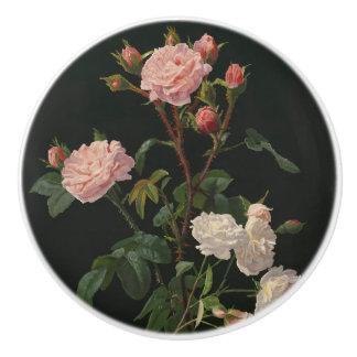 Pink and White Roses on Black Background Ceramic Knob