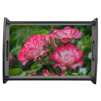 Pink and white roses serving tray