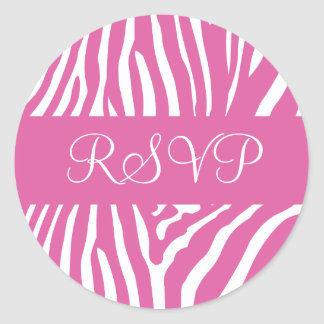 Pink and White RSVP Zebra Envelope Sticker Seal