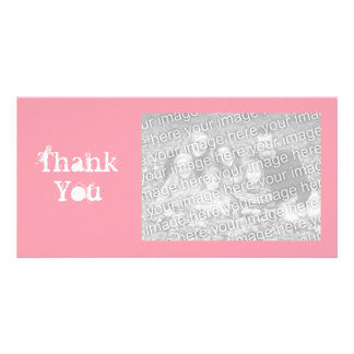 Pink and White Simple Grungy Thank You Picture Card