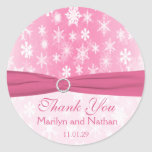 Pink and White Snowflakes Wedding Sticker