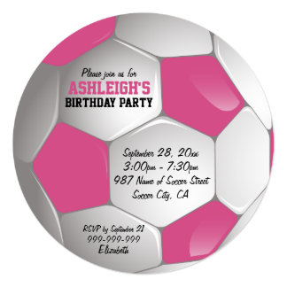 """Pink and White Soccer Ball Birthday Party 5.25"""" Square Invitation Card"""