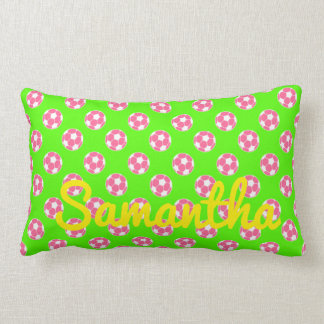 Pink and White Soccer Balls on Green Personalized Lumbar Pillow