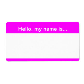 Pink and White Speed Dating Name Tag Shipping Label