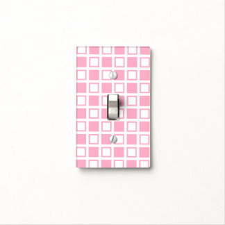Pink and White Squares Light Switch Cover