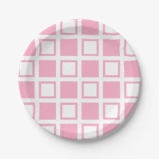Pink and White Squares Paper Plate