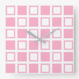 Pink and White Squares Square Wall Clock