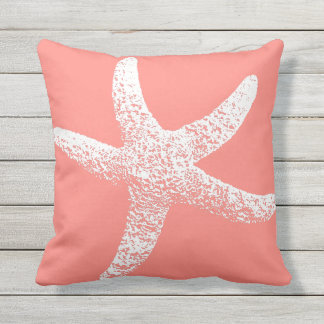 Pink and White Starfish Outdoor Throw Pillow