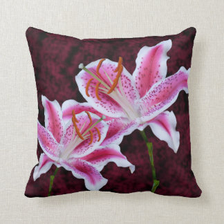 Pink and White Stargazer Lily Close Up Photograph Throw Pillow