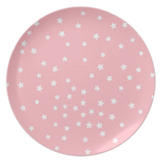 Pink and White Stars Melamine Plate
