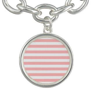 Pink and White Stripe Pattern Bracelet