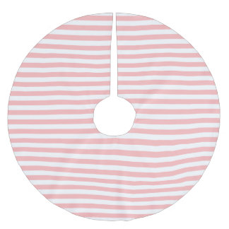 Pink and White Stripe Pattern Brushed Polyester Tree Skirt