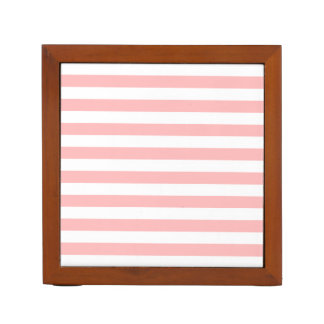 Pink and White Stripe Pattern Desk Organizer