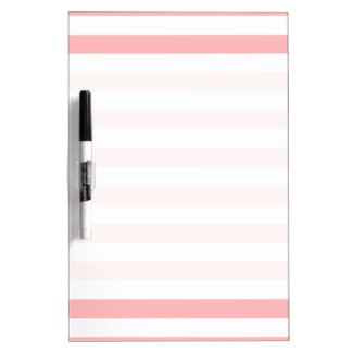 Pink and White Stripe Pattern Dry Erase White Board