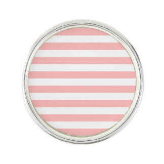 Pink and White Stripe Pattern Lapel Pin