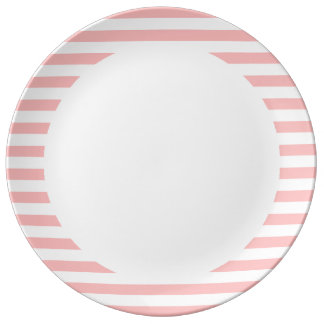 Pink and White Stripe Pattern Porcelain Plate