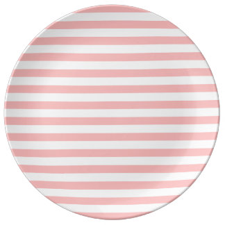 Pink and White Stripe Pattern Porcelain Plates