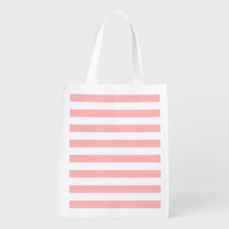 Pink and White Stripe Pattern Reusable Grocery Bag