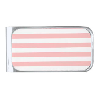 Pink and White Stripe Pattern Silver Finish Money Clip