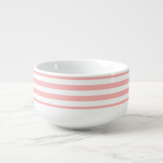 Pink and White Stripe Pattern Soup Bowl With Handle