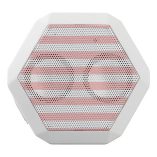 Pink and White Stripe Pattern White Bluetooth Speaker