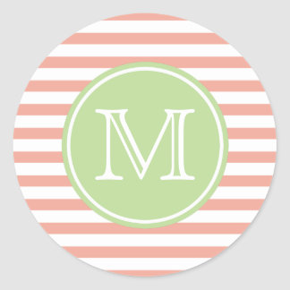 Pink and White Stripe With Mint Monogram Classic Round Sticker
