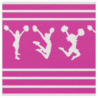 Pink and White Striped Cheerleading or Pom Fabric