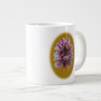 Pink and White Striped Daisy Gerbera Jumbo Mug