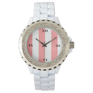 Pink and White Striped Face Watch