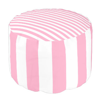 Pink and White Striped Pouf