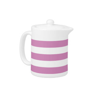 Pink and white striped teapot