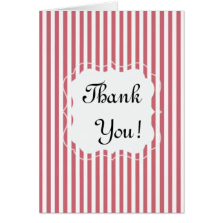 Pink and White Striped Thank You Note Card