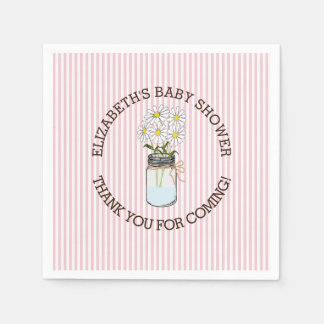 Pink and White Striped with Mason Jar Baby Shower Paper Napkin