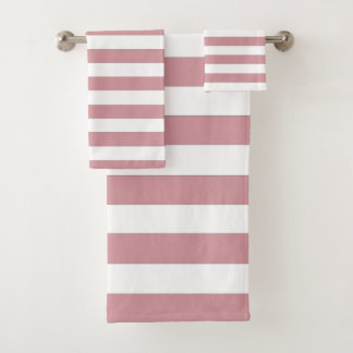 Pink and White Stripes Bath Towel Set