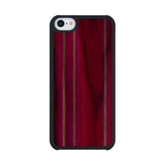 Pink and white stripes carved® walnut iPhone 5C case
