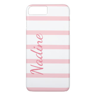 Pink and White Stripes Custom iPhone 7 Plus Case