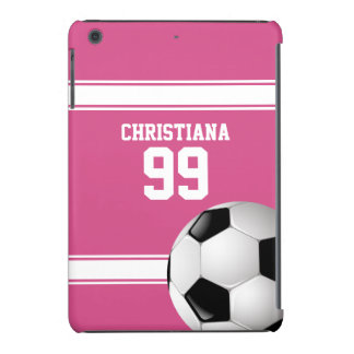 Pink and White Stripes Jersey Soccer Ball iPad Mini Cover