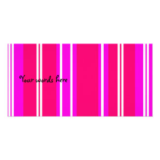 Pink and white stripes photo card