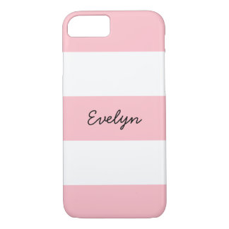 Pink and White Stripes With Custom Name iPhone 8/7 Case