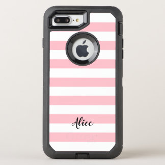 Pink and White Stripes With Custom Name OtterBox Defender iPhone 8 Plus/7 Plus Case
