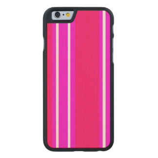 Pink and white stripes carved® maple iPhone 6 case
