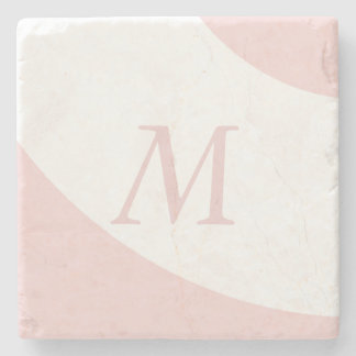 Pink and White Swirl Design Monogram Letter Stone Coaster